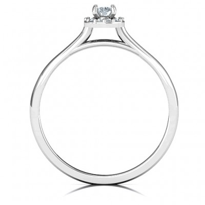 Little Luxury Halo Solid White Gold Ring