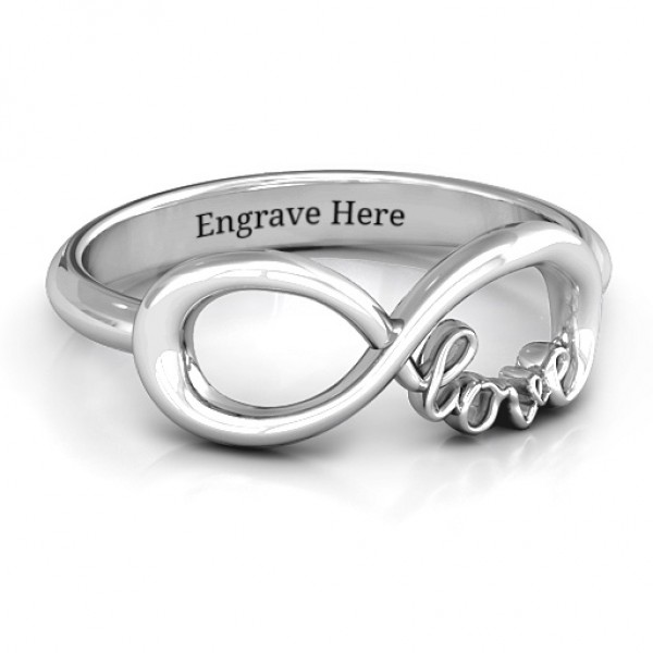 Love Infinity Solid White Gold Ring