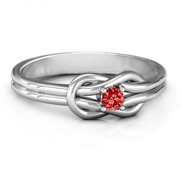 Love Knot Solid White Gold Ring