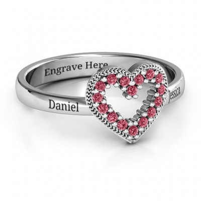 Love Story Heart Accent Solid White Gold Ring