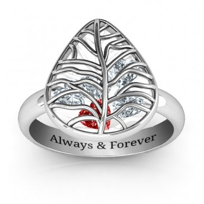 Lovely Lilac Cage Leaf Solid White Gold Ring