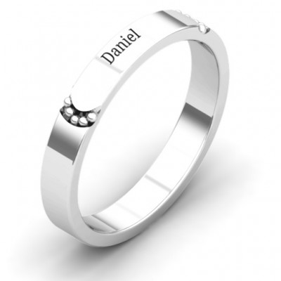 Lysander Beaded Curved Groove Women's Solid White Gold Ring