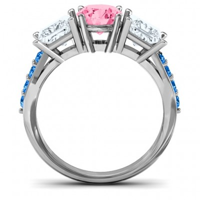 Majestic Three Stone Eternity with Twin Accents Solid White Gold Ring