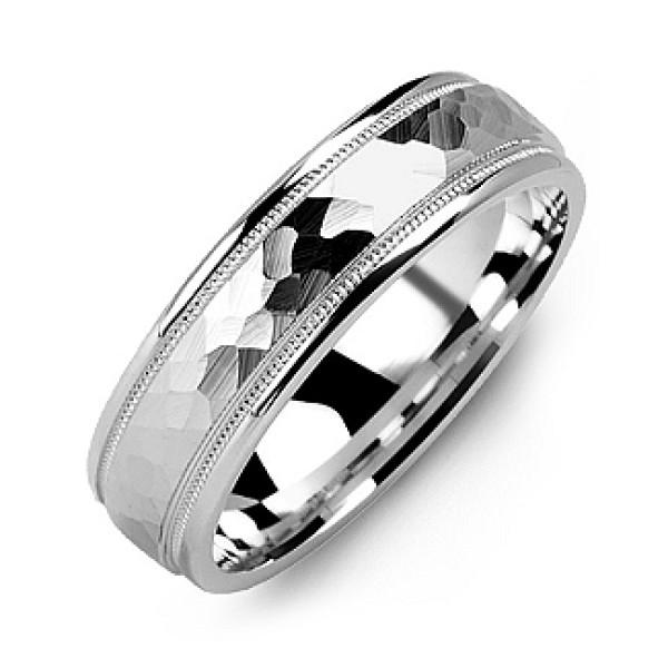 Matte Hammer-Cut Men's Solid White Gold Ring with Milgrain Detail