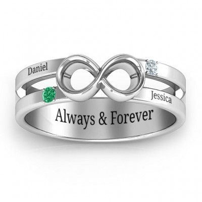 Men's Accented Infinity Solid White Gold Ring