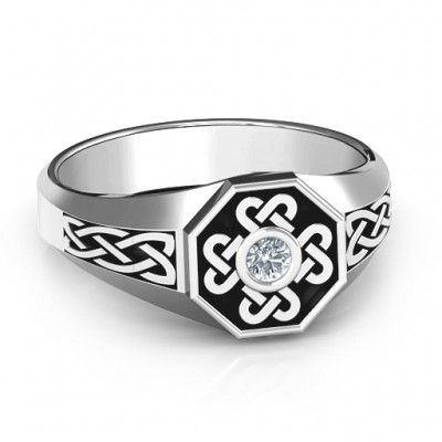 Men's Celtic Knot Signet Solid White Gold Ring