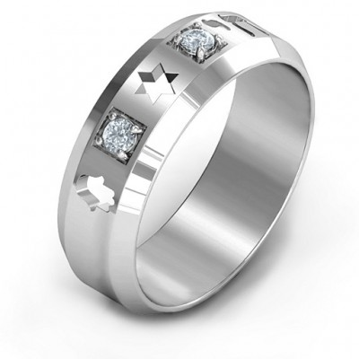 Men's Judaica Solid White Gold Ring