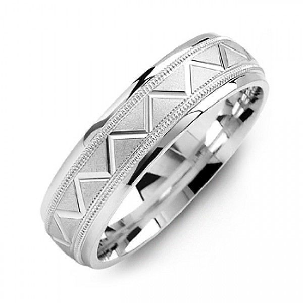 Men's Milgrain Solid White Gold Ring with Zig-Zag Pattern