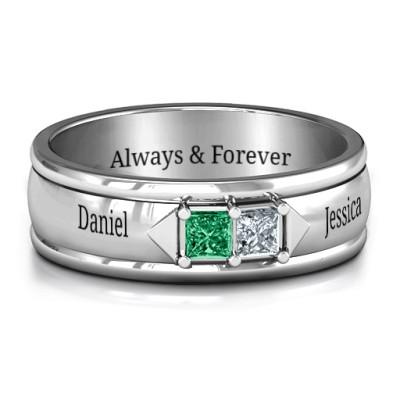 Men's Timeless Romance Solid White Gold Ring