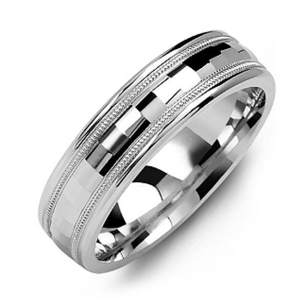 Milgrain Men's Solid White Gold Ring with Baguette-Cut Centre