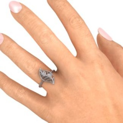 Mint to Be Cage Leaf Solid White Gold Ring