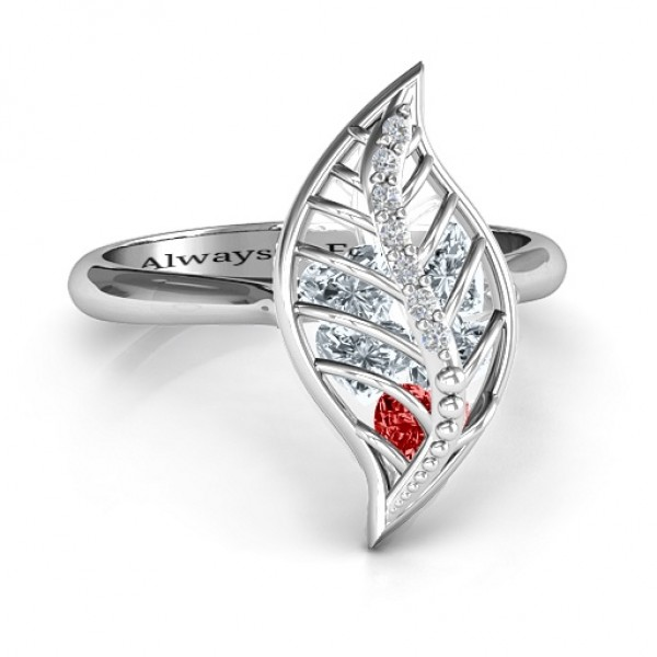 Mint to Be Cage Leaf Solid White Gold Ring with Accents