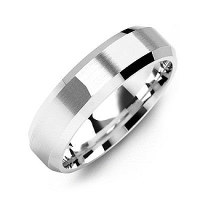 Modern Brushed Men's Solid White Gold Ring with Beveled Edges