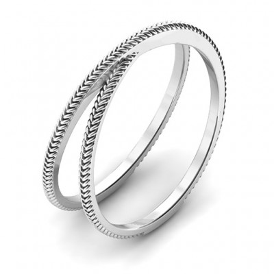 Modern Crossover Solid White Gold Ring
