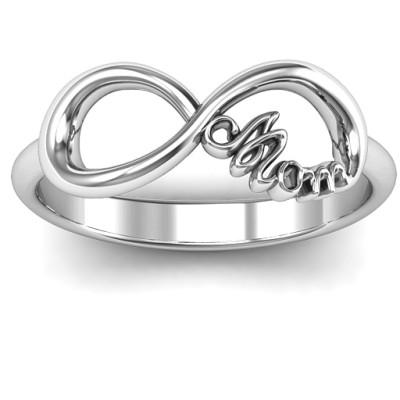 Mom's Infinite Love Solid White Gold Ring
