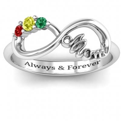 Mom's Infinite Love Solid Gold White Ring with 2-10 Stones