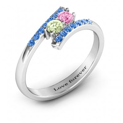 Moment We Met Two Stone Solid White Gold Ring