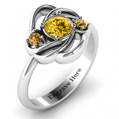 Multi Stone Love Knot Solid White Gold Ring