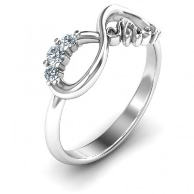 Mum's Infinite Love with Stones Solid White Gold Ring
