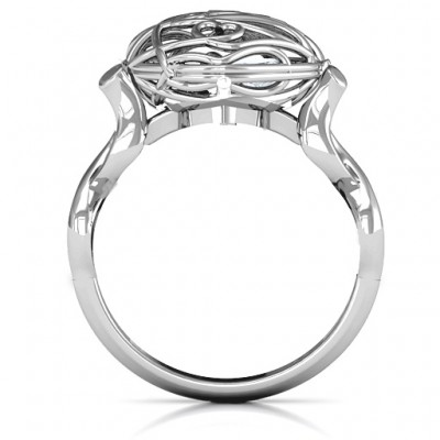 Mum heart Caged Hearts Solid White Gold Ring with Infinity Band