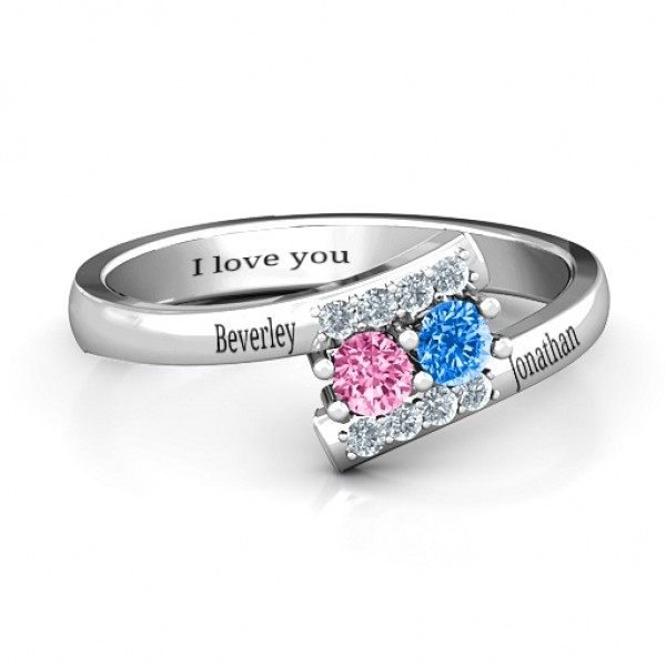 Must Be Love Two Stone Solid White Gold Ring