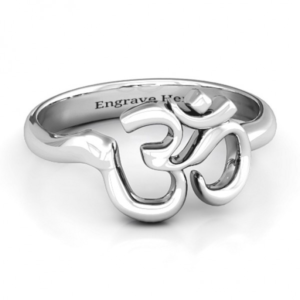 Om - Sound of Universe Solid White Gold Ring