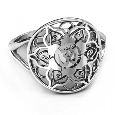 Om Mandala Solid White Gold Ring