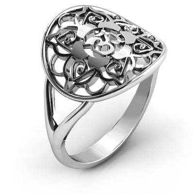 Om Mandala Solid White Gold Ring