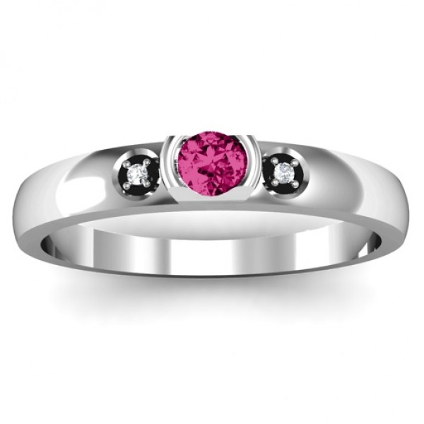 Open Bezel Cut Solid White Gold Ring with Accents Stones