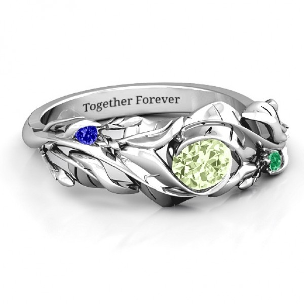 Organic Leaf Solid White Gold Ring