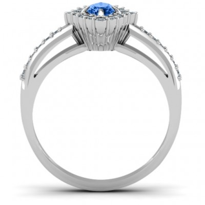 Oval Cluster with Shoulder Accents Solid White Gold Ring