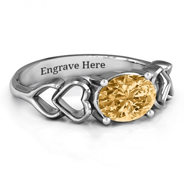 Oval Solitaire Solid White Gold Ring with Surrounding Hearts