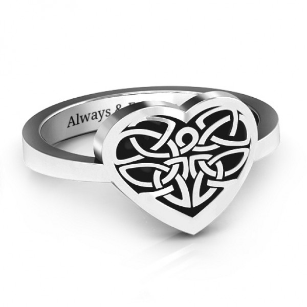 Oxidized Celtic Heart Solid White Gold Ring