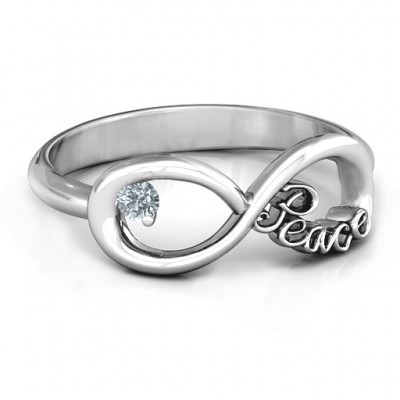 Peace Infinity Solid White Gold Ring
