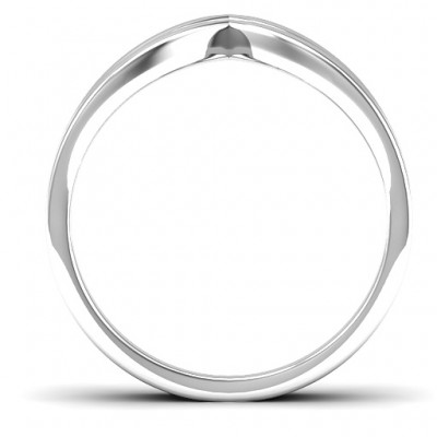 Peaks and Valleys Geometric Solid White Gold Ring