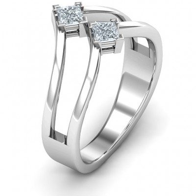 Peaks and Valleys Geometric Solid White Gold Ring With Princess Stones