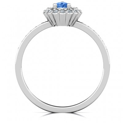 Pear Shaped Halo Solid White Gold Ring