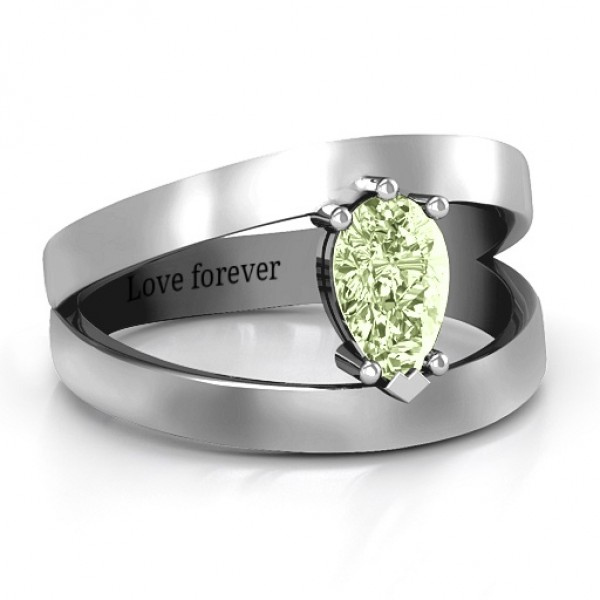 Pear With Flair Solid White Gold Ring