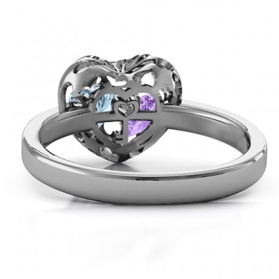 Petite Caged Hearts Solid White Gold Ring with 1-3 Stones