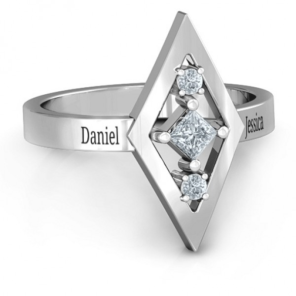 Playing with Diamonds Solid White Gold Ring