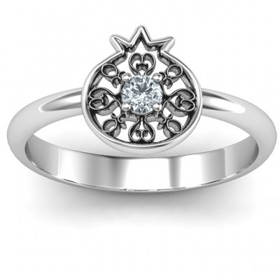 Pomegranate with Filigree Solid White Gold Ring