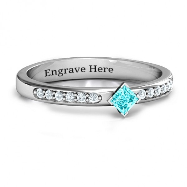 Princess Centre Stone Solid White Gold Ring with Twin Accent Rows