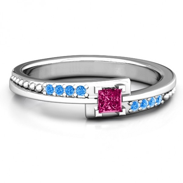 Princess Cut Solid White Gold Ring with Accents