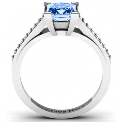 Princess Cut Solid White Gold Ring with Channel Set Accents