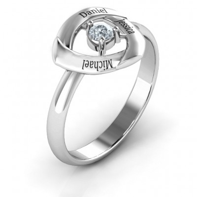 Protective Shield Solid White Gold Ring