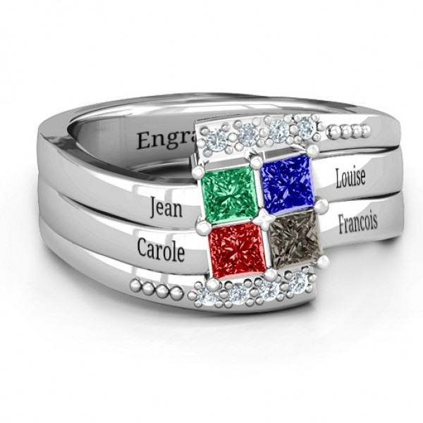 Quad Princess Stone Solid White Gold Ring with Accents