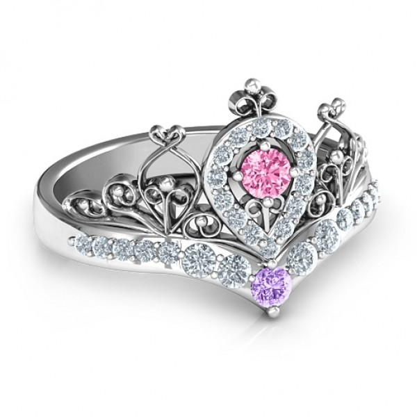 Queen Of My Heart Tiara Solid White Gold Ring