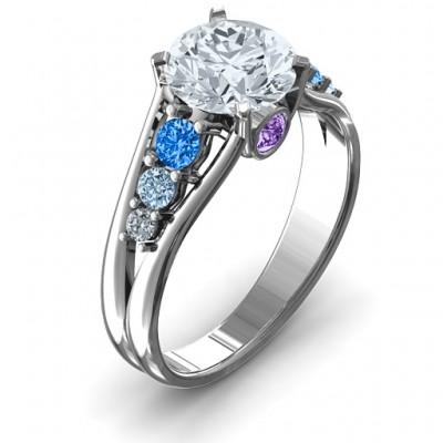 Radiant Love Solid White Gold Ring with Collar Gems