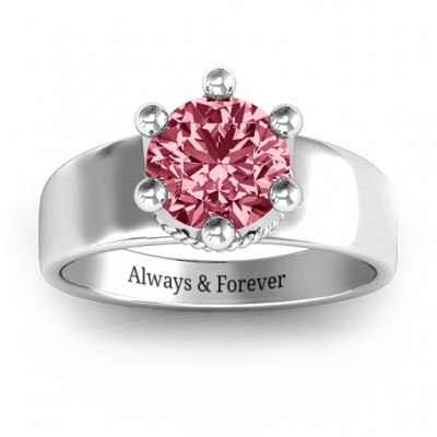 Radiant Royal Crown Solid White Gold Ring