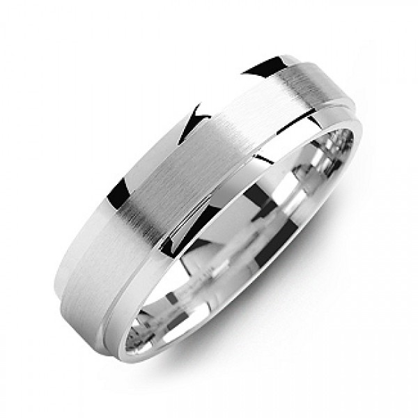 Raised Brush Centre Flat Polished Edges Men's Solid White Gold Ring